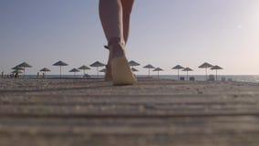 Женщина Waalking на пляже стоковые фотографии rf