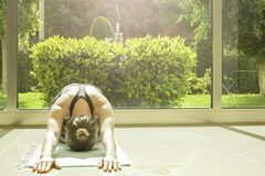 Женщина Yogi делает тренировки йоги, разработку, практикуя pranayam Стоковые Фото
