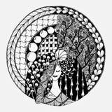 Женщина Zentangl в круглой рамке Стоковая Фотография RF
