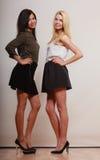 2 женщины африканец и кавказский представлять моды Стоковое Изображение