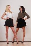 2 женщины африканец и кавказский представлять моды Стоковые Изображения RF
