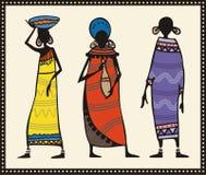 женщины африканца установленные иллюстрация вектора