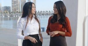 2 женщины беседуя на прогулке портового района Стоковые Фото