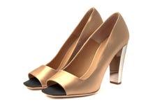 женщины ботинок бежевой пятки высокие Стоковые Фотографии RF