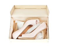 женщины ботинок пятки способа коробки высокие сексуальные Стоковые Фотографии RF