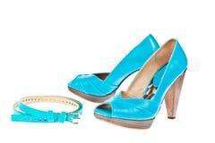 женщины ботинок пятки способа пояса высокие сексуальные Стоковые Изображения