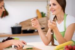 2 женщины варят в кухне Друзья имея беседу удовольствия пока подготавливающ и пробующ салат Кашевар шеф-повара друзей Стоковое фото RF