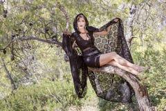 Женщины ведьмы во время хеллоуина в лесе Стоковое Изображение
