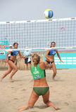 женщины волейбола пляжа Стоковые Изображения