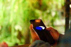 Женщины вручают используя smartphone печатая, беседуя переговор в значках коробки болтовни хлопают вверх Социальные средства масс стоковая фотография