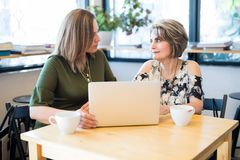 Женщины встречая на кафе для работы Стоковые Изображения