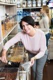 Женщины выбирая гайки в магазине Стоковое Фото