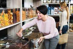 Женщины выбирая гайки в магазине Стоковое Изображение RF