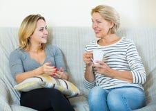 2 женщины выпивая чай и говоря на отечественном интерьере Стоковое Изображение RF