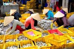 Женщины Вьетнама с конической шляпой делают рыб в симметрии Стоковое Изображение