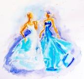 Женщины в акварели платья Стоковое Изображение RF