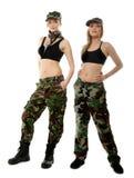 2 женщины в воинских одеждах, девушки армии Стоковые Фотографии RF