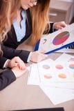 Женщины в встрече анализируя диаграммы Стоковые Фото
