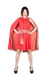 Женщины в красном платье на белизне Стоковая Фотография RF