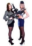 2 женщины в морском пехотинце и военных формах с assau Стоковое Изображение