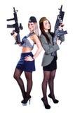 2 женщины в морском пехотинце и военных формах с assau Стоковое Изображение RF