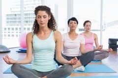 Женщины в лотосе представляют при глаза закрытые на студии фитнеса Стоковая Фотография RF
