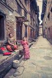 Женщины в переулке в Непале Стоковое фото RF