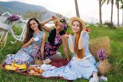 Женщины в платьях наслаждаясь пикником, readind записывают, льющ чай, есть круассан Стоковые Фото