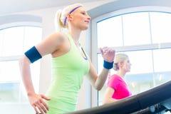 Женщины в спортзале делая спорт на третбане Стоковая Фотография RF