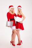 2 женщины в ткани santa стоя с портативными компьютерами Стоковое фото RF