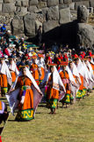 Женщины в традиционном Inti Raymi Перу костюмов Стоковое Фото
