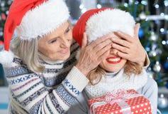 2 женщины в шляпах santa Стоковое Фото