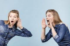 2 женщины говоря сказы, сплетню слухов Стоковые Изображения