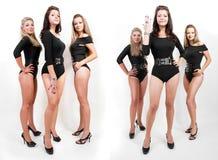 женщины группы коллажа bodysuits горячие молодые стоковое фото rf