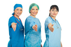 женщины докторов приветствующие Стоковые Фото