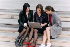 Женщины дерева одели в стильных одеждах используя портативный компьютер пока сидящ совместно на деревянных лестницах outdoors, Стоковая Фотография RF