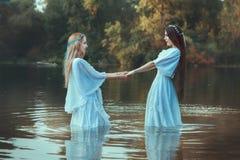2 женщины держа руки Стоковые Фото