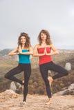 2 женщины делают йогу в ландшафте гор Стоковая Фотография
