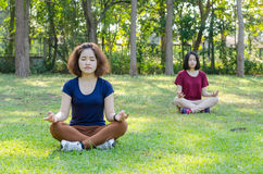 Женщины делая йогу в парке Стоковое Изображение