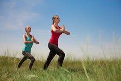 2 женщины делая йогу outdoors на предпосылке голубого неба представляя на g Стоковые Фото