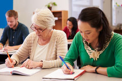 2 женщины деля стол на классе обучения взрослых Стоковое Изображение RF