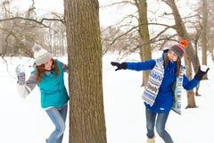 Женщины зимы имеют потеху outdoors Стоковое Изображение RF