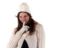 женщины зимы портрета перчатки молодые Стоковое Фото