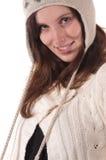 женщины зимы портрета knit шлема молодые Стоковое Изображение RF