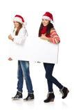 2 женщины зимы с знаменем Стоковое Изображение