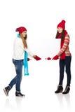2 женщины зимы с знаменем Стоковая Фотография RF