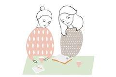 Женщины или девушки читая и studing книгу, делая примечания на таблице Дизайн картины женственный иллюстрация штока
