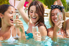 3 женщины имея партию в бассейне выпивая Шампань Стоковое Изображение RF
