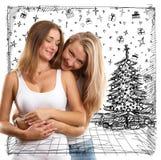 Женщины ища подарки рождества Стоковая Фотография RF