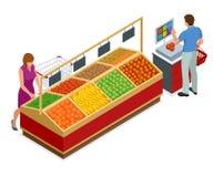 Женщины и овощи и плодоовощи покупок человека в супермаркете Люди в дизайне интерьера супермаркета самый лучший выбор свеже иллюстрация штока